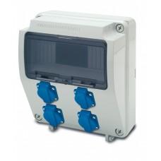 Tablou electric echipat cu 4 prize monofazate schuko 16A, 9L IP54 Famatel