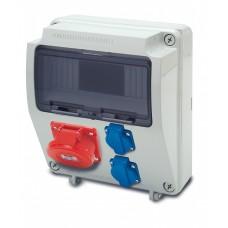 Tablou electric echipat cu o priza trifazata 5P 16A + 2 prize monofazate schuko 16A, 9L IP44 Famatel