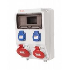 Tablou electric echipat cu o priza trifazata 5P 16A + o priza trifazata 5P 32A + 2 prize monofazate schuko 16A, 9L IP44 Famatel